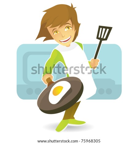 chief girl cooking fried egg