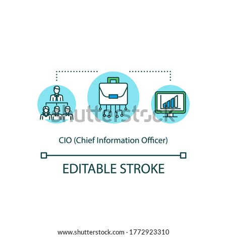 Chief information officer concept icon. C level executive of IT company. Businessman to lead team. CIO idea thin line illustration. Vector isolated outline RGB color drawing. Editable stroke Foto stock ©