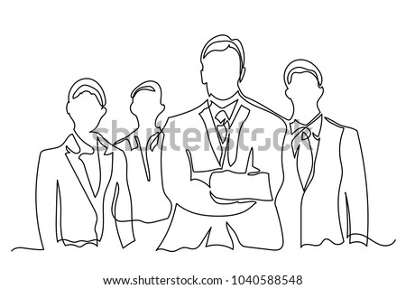 Chief manager and several employees of subordinates. One line drawing isolated vector object by hand on a white background.