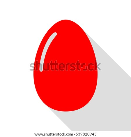 Chiken egg sign. Red icon with flat style shadow path. #539820943