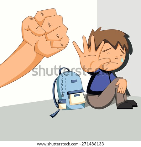 Child abuse, bullying, harassment, vector illustration