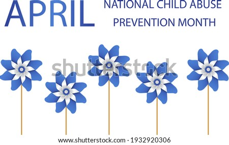 Child Abuse Prevention and awareness month of April. Stop child violence. Children protection and safety month. Poster with blue pinwheels. Banner, background. Vector illustration Stock photo ©