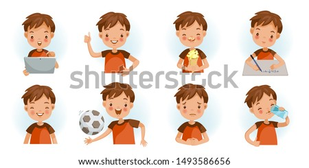 Child activity department collection. Children 's gestures and emotions.  Children 's vector icon set isolated on white background.