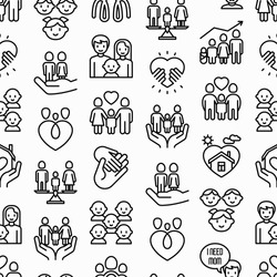 Child adoption seamless pattern with thin line icons: adoptive parents, helping hand, orphan, home care, LGBT couple with child, custody, cargivers, happy kid. Modern vector illustration.