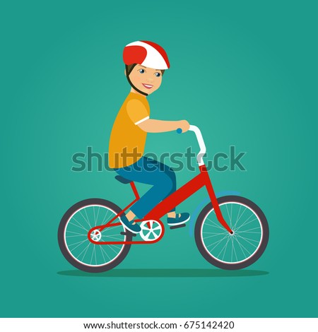 child boy riding bike isolated
