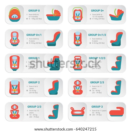 Child car seats icons - Vector Icon Set