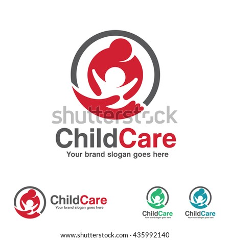 Child Care Logo, Mother and Kid with Hand Symbol