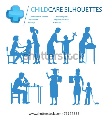 child care pregnancy medical doctor silhouettes