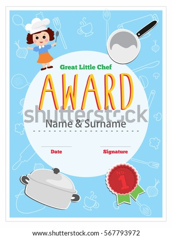 Child chef award. Cooking class for kids certificate design, layout template, vector illustration