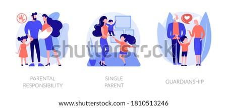 Child custody abstract concept vector illustration set. Parental responsibility, single parent, guardianship, social roles, child care, foster parenting, legal guardian authority abstract metaphor.