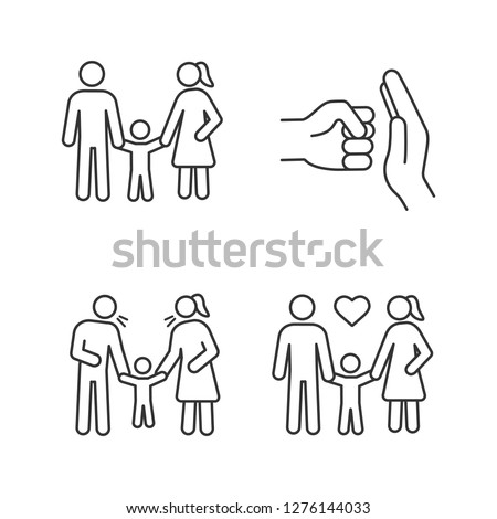 Child custody linear icons set. Thin line contour symbols. Childcare. Domestic violence, positive parenting, parents scolding child. Isolated vector outline illustrations. Editable stroke