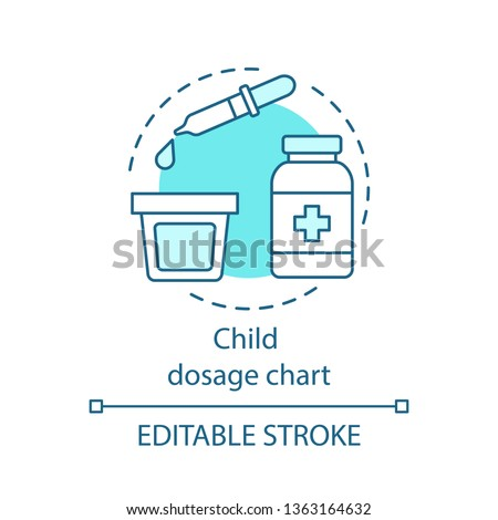 Child dosage chart concept icon. Dosing drugs for children. Dropper, dosage cup. Doctor prescription. Child treatment idea thin line illustration. Vector isolated outline drawing. Editable stroke Stockfoto ©