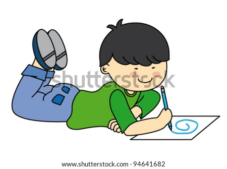Child drawing. Vector drawing with white background