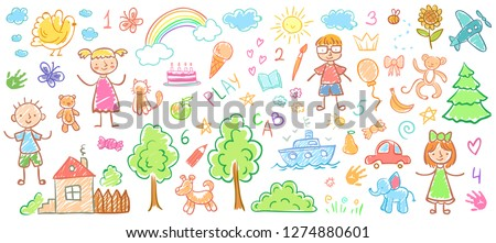 Child drawings. Kids doodle paintings, children crayon drawing and hand drawn kid elephant, house and trees pastel pencil doodle vector illustration