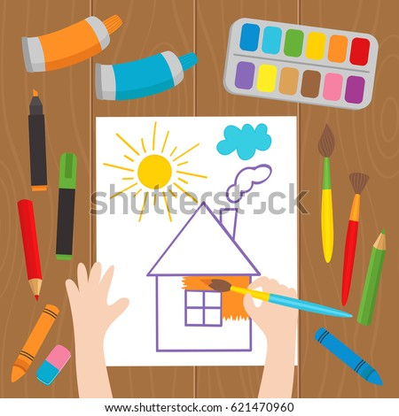 child draws at the desk - vector illustration, eps