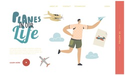 Child Dream to be Pilot, Aircraft Landing Page Template. Happy Boy Run with Paper Airplane in Hand. Young Male Character Fly Plane in Air. Summer Vacation, Childhood, Hobby. Linear Vector Illustration