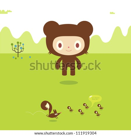 Child dressed in bear costume staring at running ferrets in the countryside
