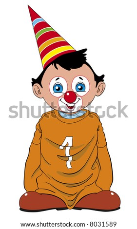 Child dressed of clown with big shoes and sweater