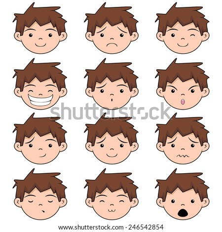 child face expressions  vector