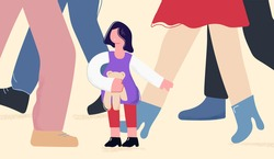 Child girl in adults world vector flat illustration. Cute cartoon kid get lost surrounded by huge human legs isolated on white. Concept of overcoming difficulties, adoption, helpless and loneliness