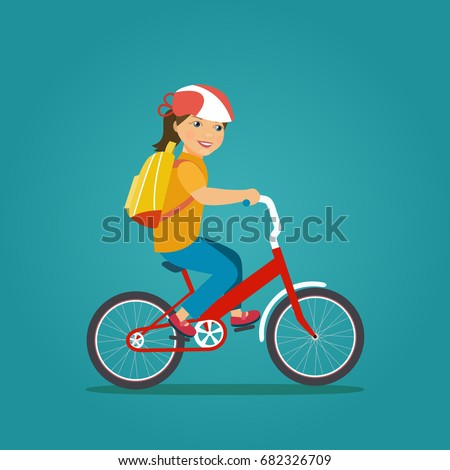 child girl with backpack riding