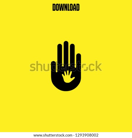 child hand on adult hand icon vector. child hand on adult hand vector graphic illustration