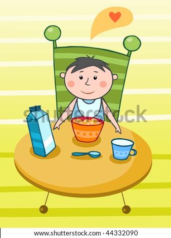 Child having a breakfast - vector