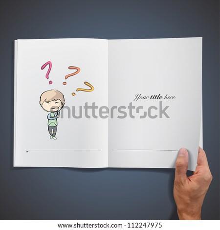 Child having doubts inside a book. Vector design. - stock vector
