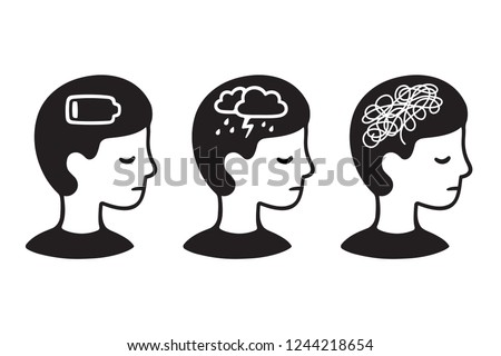 Child head profile with mental illness symptoms: depression, anxiety, low energy. Black and white drawing of mental health problems.