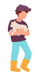 Child holding small lamb, isolated male character waring rural clothes. Grandchild in countryside caring for animals. Kid with fluffy sheep mammal. Personage in wellingtons, vector in flat style