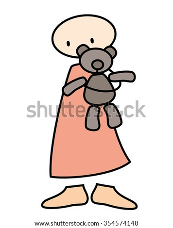 child holding teddy bear