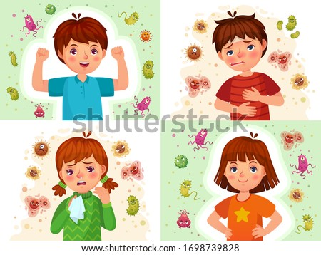 Child immune system. Healthy and sick kids, immune defence. Virus and bacterias protected boy and girl cartoon vector illustration set. Immune kid protection, immunity health human