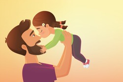 Child kissing dad flat illustration. Father Day holiday greeting, parent and kid hugging. Daddy and daughter embracing cartoon smiling happy characters. Father and child happy together.