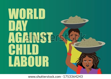 Child Labour, World against no child labour day, India child labour, stop child labour, Indian Girl working on construction sites.