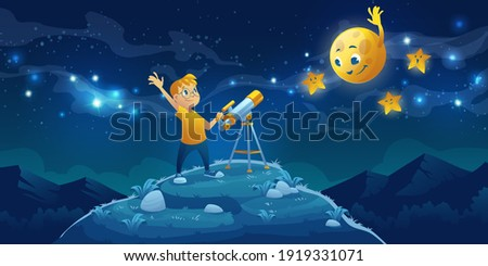 Child look in telescope, curious little boy waving hand to friendly moon and stars on dark night sky with milky way. Astronomy science, space observation hobby or studying, Cartoon vector illustration