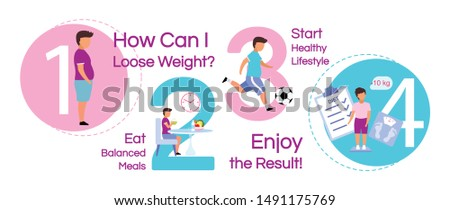 Child losing weight vector infographic template. Healthy nutrition business presentation design elements. Data visualization with 4 steps, options. Doing sports timeline chart with flat illustrations