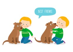 Child lovingly embraces his pet dog. A little dog licking a boy's cheek. Best friends. Cartoon vector clip art illustration on white background.