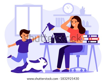 Child make noise and disturb mother work from home. Woman remote working from home with kid. Boy run and play with dog. Vector illustration ストックフォト ©