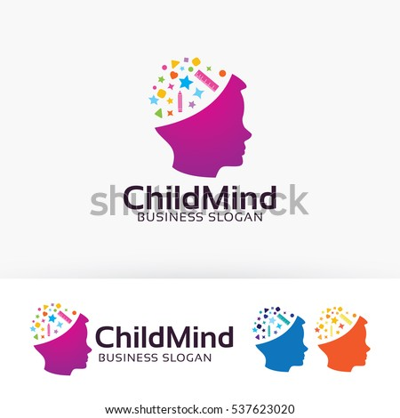 Child Mind, people, children, playing,  kids, colorful, toys, education, vector logo template