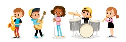 Child music band. Children playing music.Cartoon kids playing musical instruments and singing.