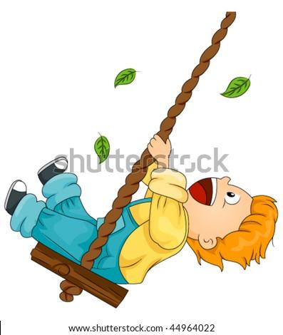 Child on Swing - Vector