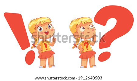 Child on the background of a question mark and exclamation mark. Big question and solution. Funny cartoon character. Vector illustration. Isolated on white background