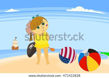 child on the beach playing