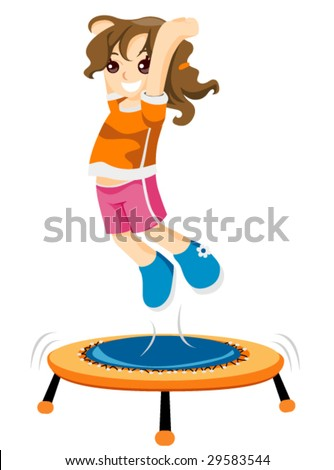 Child on Trampoline - Vector