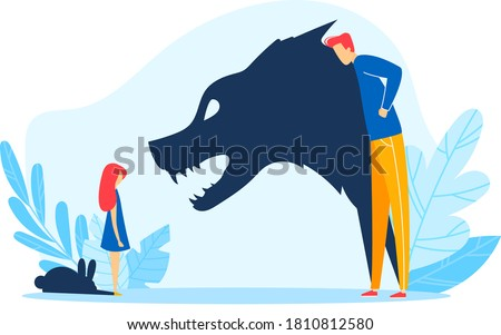 Child parent relationship, angry father shadow abuse young kid, vector illustration. Family problem, fight stress between sad girl daughter rabbit and father wolf at home. Domestic conflict.