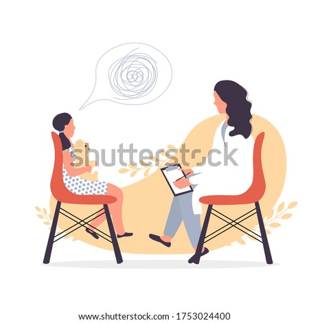 Child psychiatrist work with small girl. Psychological consultation in hospital, school or kindergarten. Kid psychology after domestic violence or accident concept. Cute illustration in flat style.