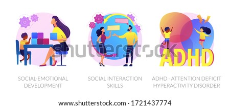 Child psychology icons set. Social-emotional development, social interaction skills, ADHD - attention deficit hyperactivity disorder metaphors. Vector isolated concept metaphor illustrations. Foto stock ©