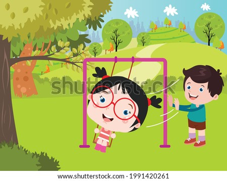 child pushing vector concept