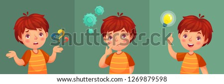 Child question. Thoughtful young boy ask question, confused kid and understand or found answer. Confuse kid contemplation thinking expression with intelligent face cartoon vector portrait illustration