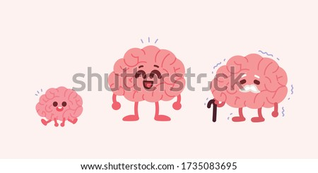 Child's brain, adult brain, and old brain. Brain age concept illustration.